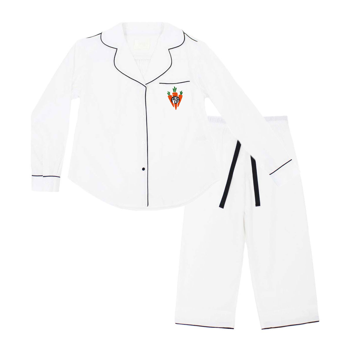 Piu Kids Pajama Set in White with Black Piping and Carrot Monogram on Pocket