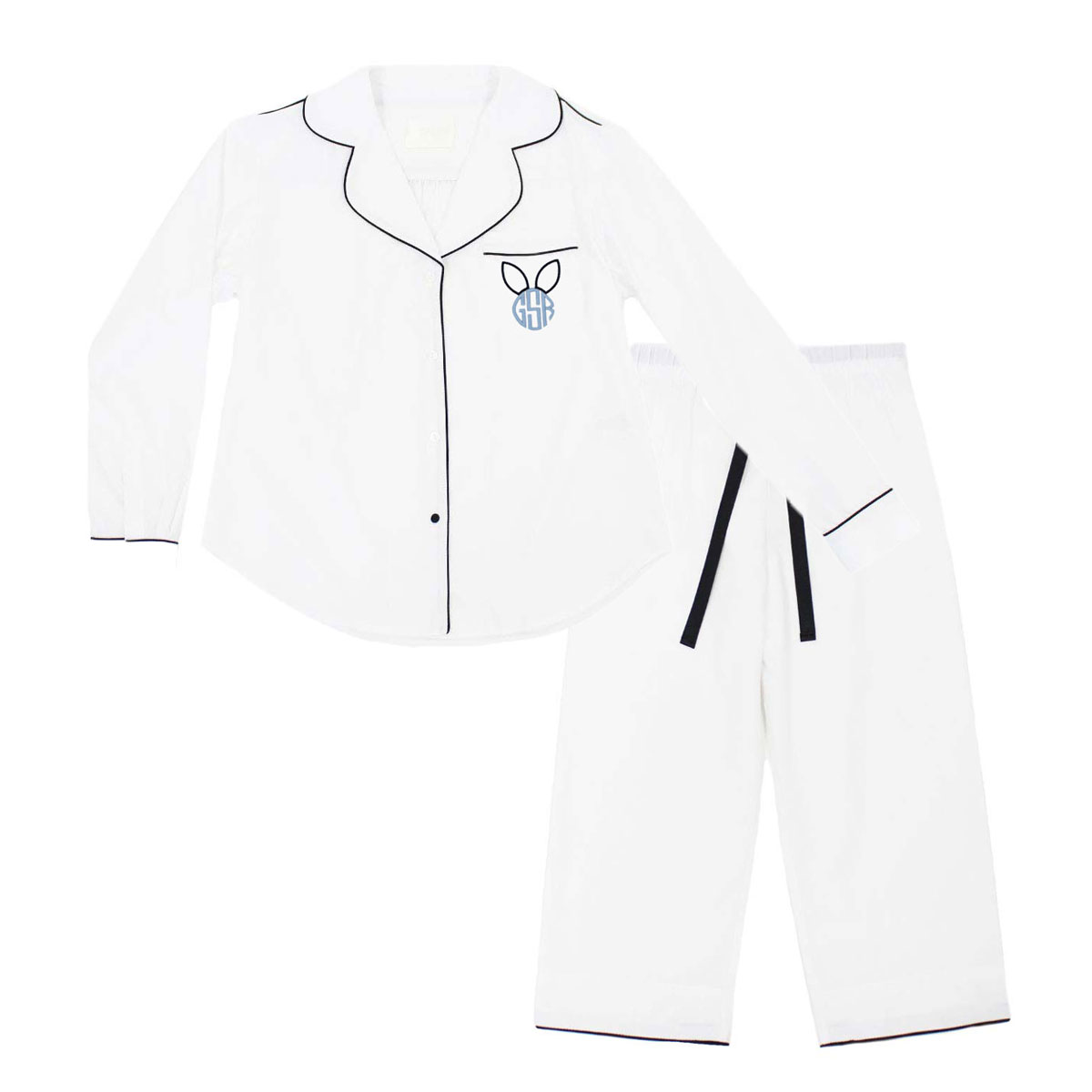 Piu Kids Bamboo Pajama Set in White with Black Piping & Bunny Ear Monogram on Pocket in Blue
