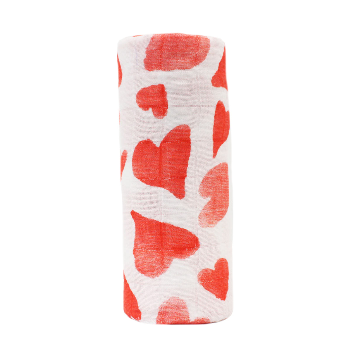 Hart & Land Organic Cotton Valentine's Swaddle in Red Hearts Print on White