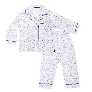 Charmajesty Cotton Pajama Set in All Over Hearts Print in Blue