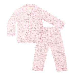 Charmajesty Cotton Pajama Set in All Over Hearts Print in Pink