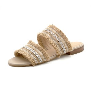 Kaanas Shoe Yassica Frayed Sandal Champagne