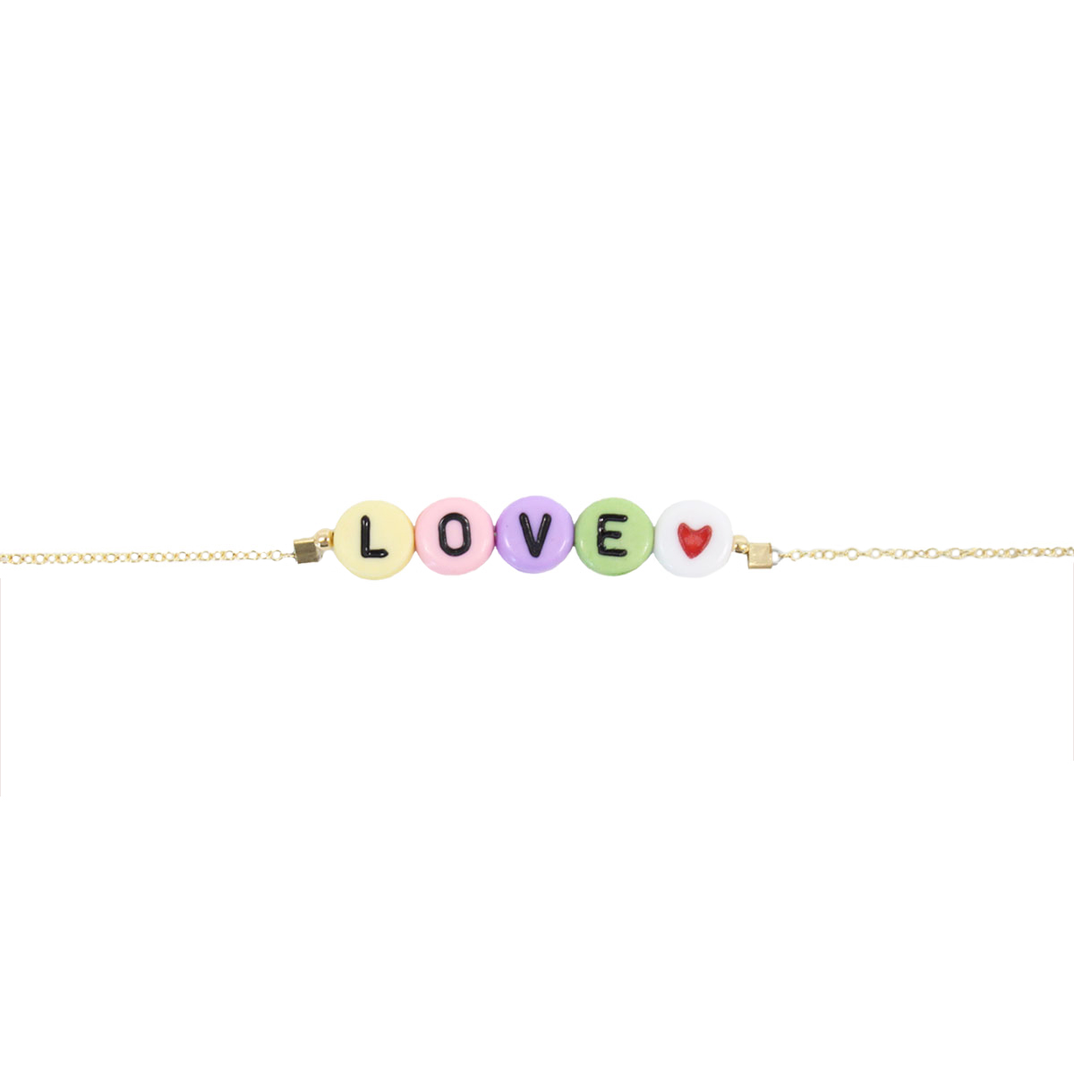Stella and Bow Kids bracelet with pastel letter beads in LOVE