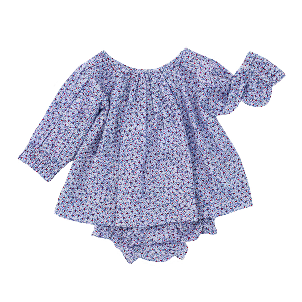 Madras Made Sydney Long Sleeve Top & Bloomer Set in Bluebell