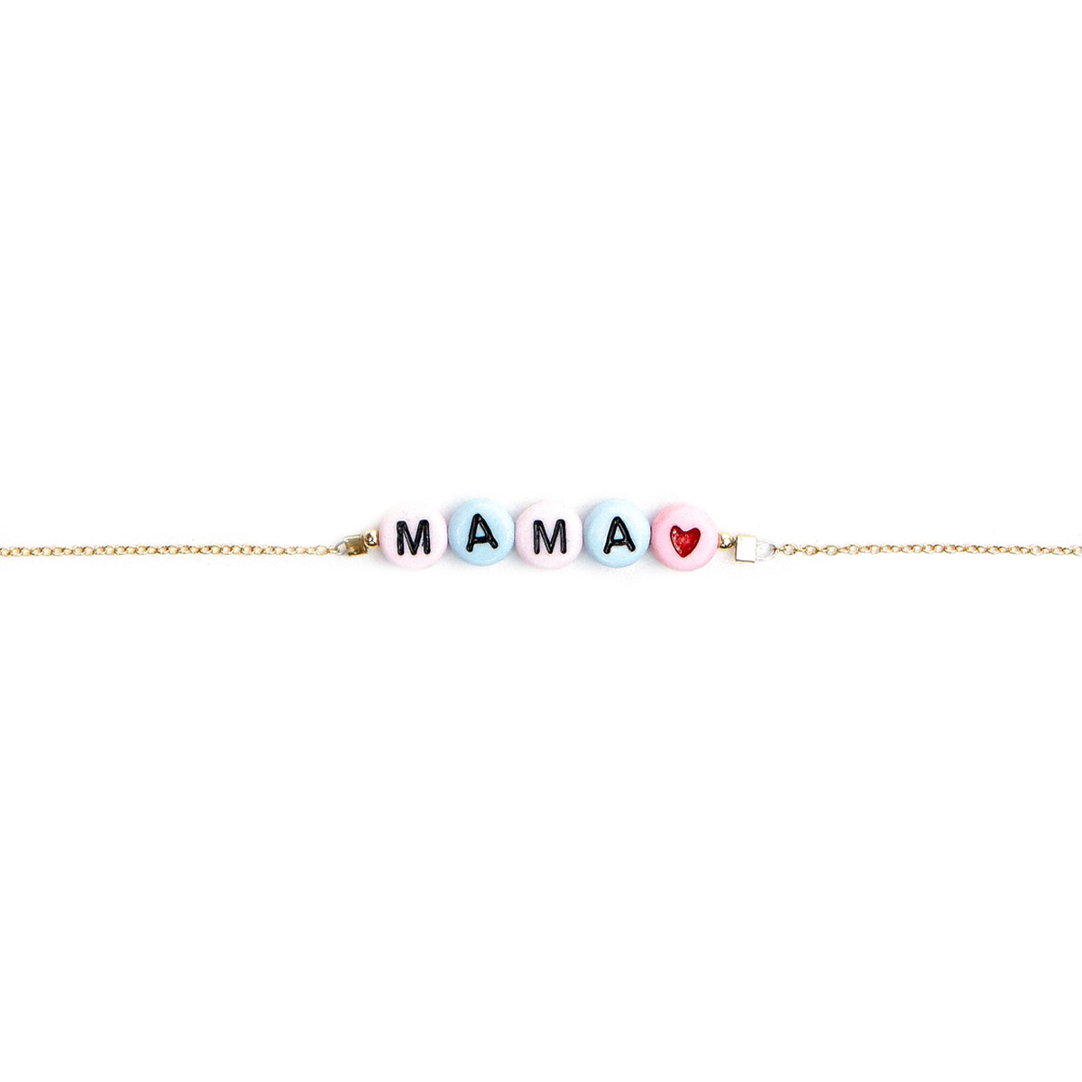 Stella and Bow Gold Bracelet with plastic letter beads reading Mama in pastel colors