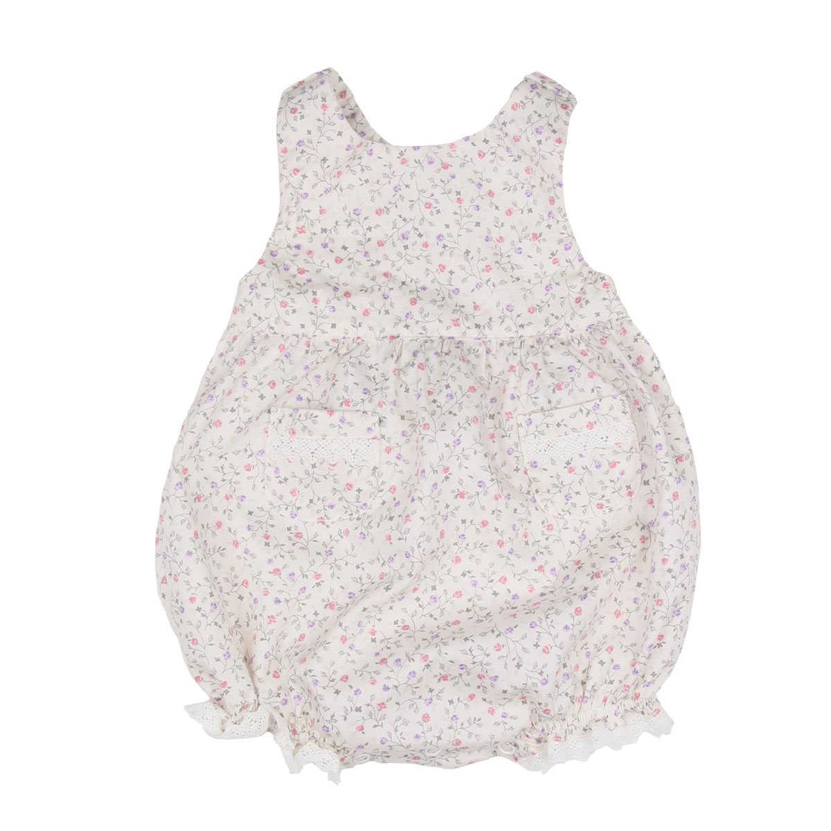 Poeme & Poesie Sleeveless overall in Ivory Floral with lace detail