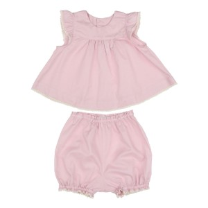 18b0429768f Baliene · Baby Toddler Linen Back-Buttoned Dress.  90.00.  PoemePoesieSS19SetRuffleSleevePink1