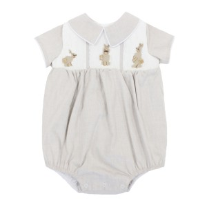 Dondolo Short Sleeve Cotton Peter Bubble with Bunny Embroidery on front