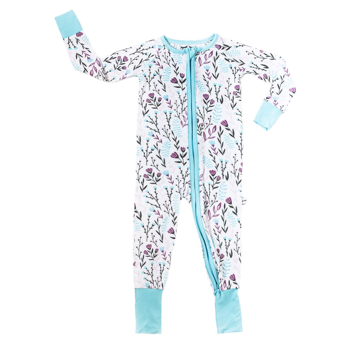 Little Sleepies Bamboo Pajama Zip-Up Sleeper in Wildflower Print