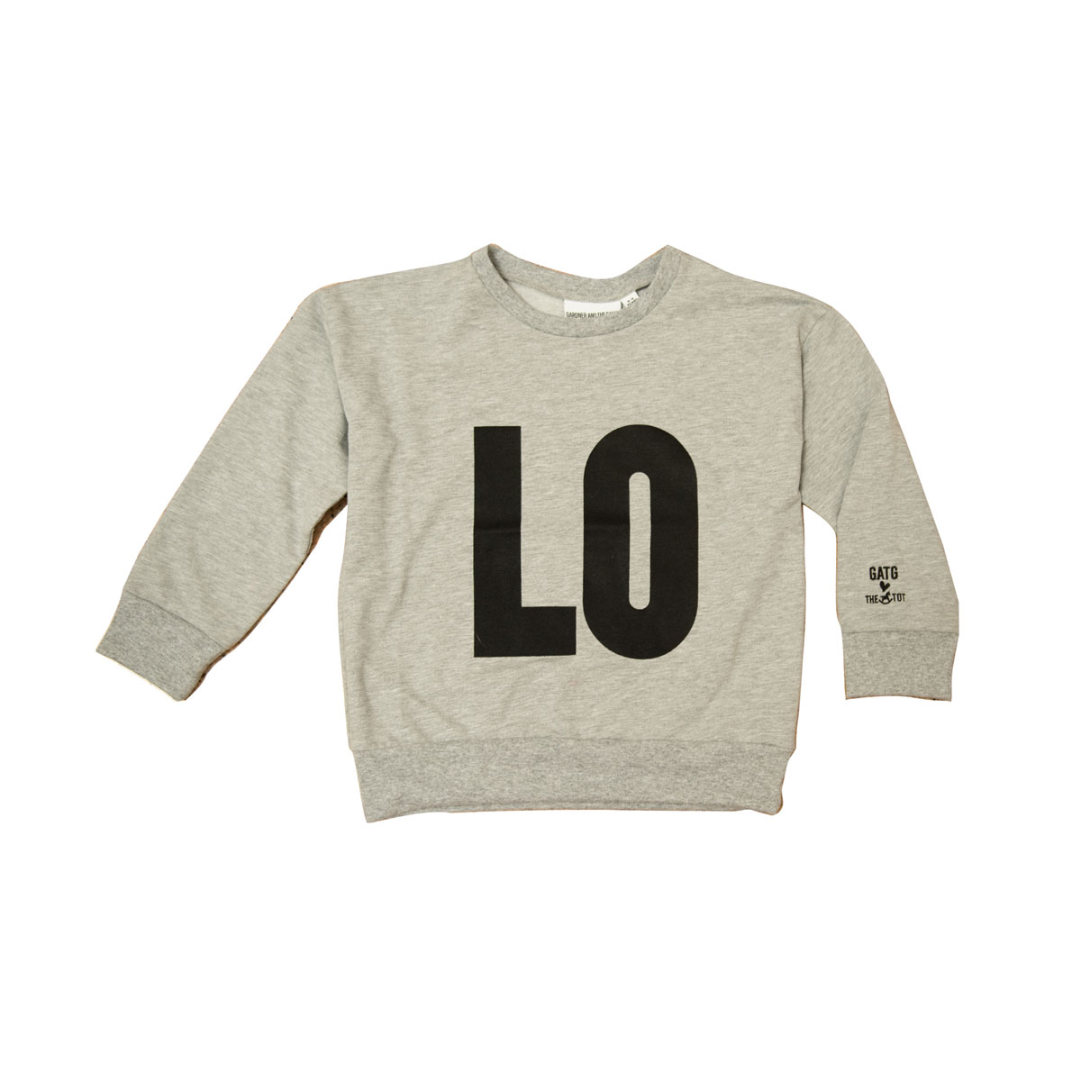Gardner and the Gang Sweatshirt in grey with black LO on front and VE on back