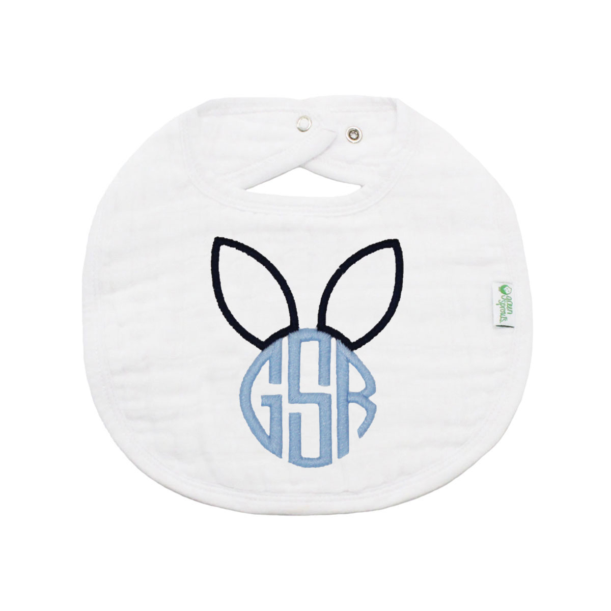 The Tot Organic White Bib with Bunny Monogram in Blue Classic Font
