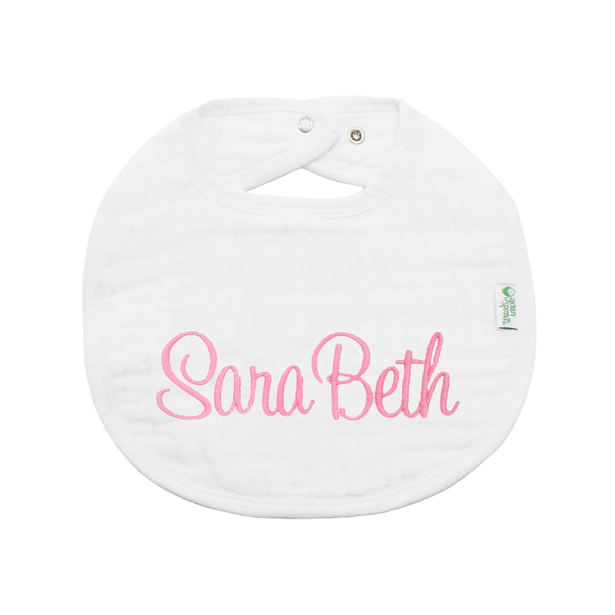 The Tot Organic Cotton White Bib with Personalized Monogram in Sara Beth