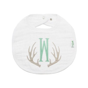 The Tot Organic Cotton White Bib with Personalized Monogram in Antlers 2 Classic