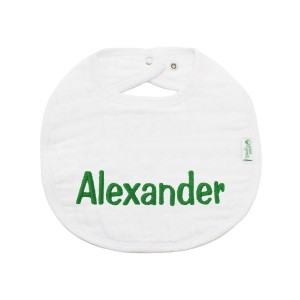 The Tot Organic Cotton White Bib with Personalized Monogram in Alexander