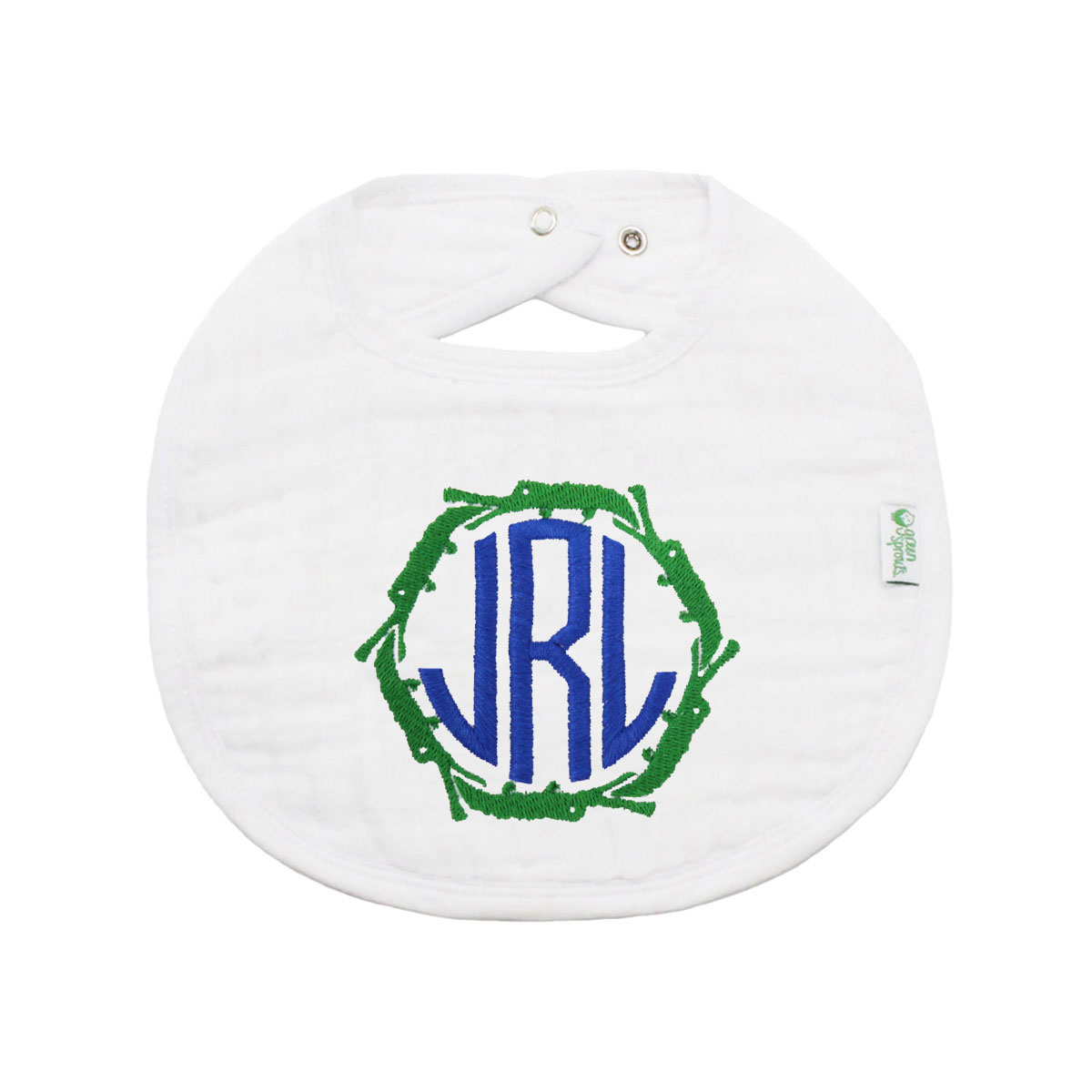 The Tot Organic Cotton White Bib with Personalized Monogram in Alligator