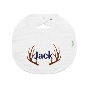 The Tot Organic Cotton White Bib with Personalized Monogram in Antler 1