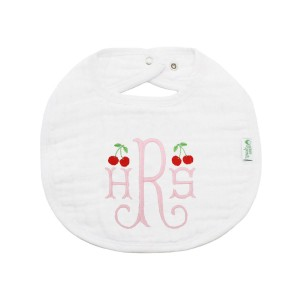 The Tot Organic Cotton White Bib with Personalized Monogram in Cherries