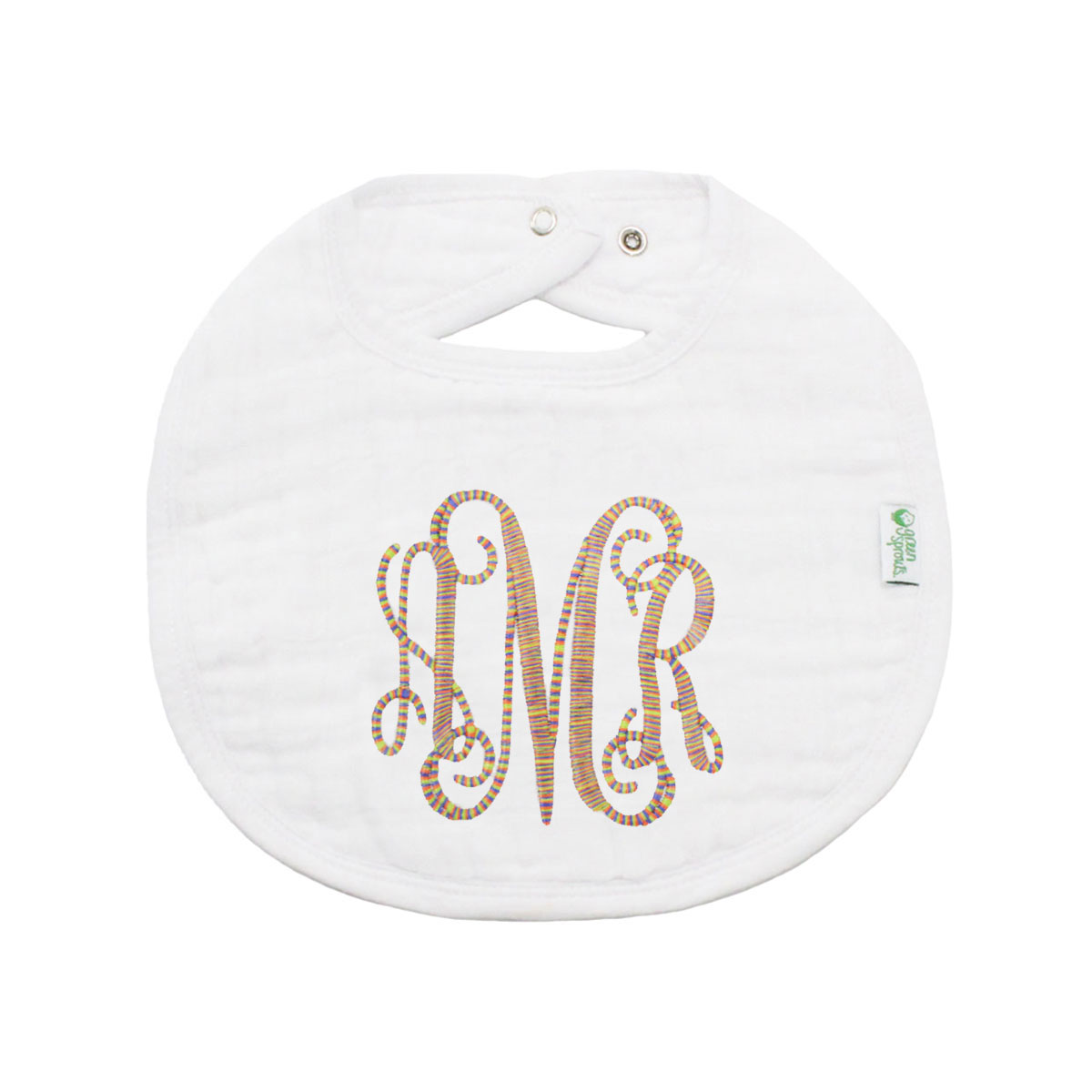 The Tot Organic Cotton White Bib with Personalized Monogram in Classic