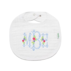 The Tot Organic Cotton White Bib with Personalized Monogram in Floral