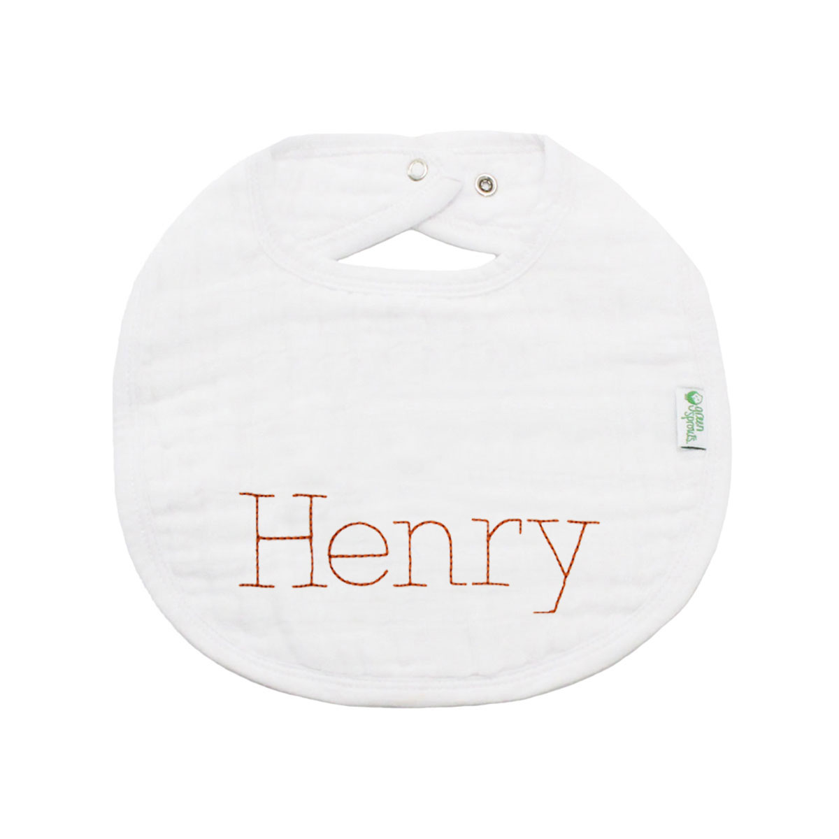 The Tot Organic Cotton White Bib with Personalized Monogram in Henry