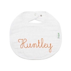The Tot Organic Cotton White Bib with Personalized Monogram in Huntley