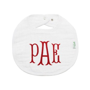 The Tot Organic Cotton White Bib with Personalized Monogram in James