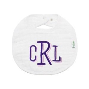 The Tot Organic Cotton White Bib with Personalized Monogram in Paradise