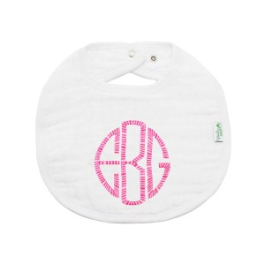 The Tot Organic Cotton White Bib with Personalized Monogram in Round