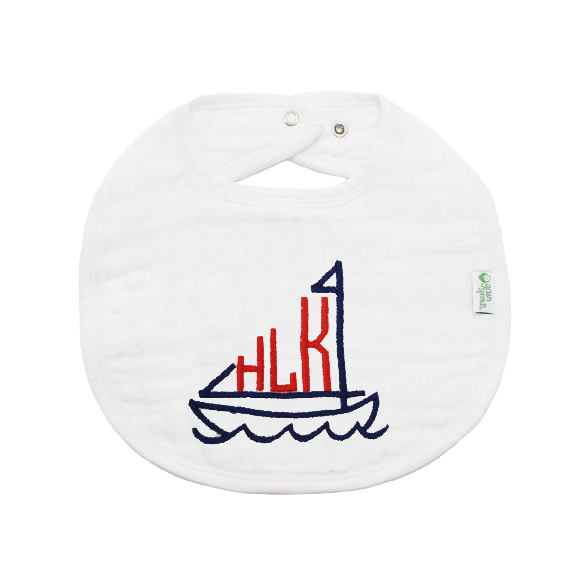 The Tot Organic Cotton White Bib with Personalized Monogram in Sailboat
