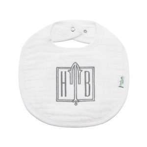 The Tot Organic Cotton White Bib with Personalized Monogram in Square