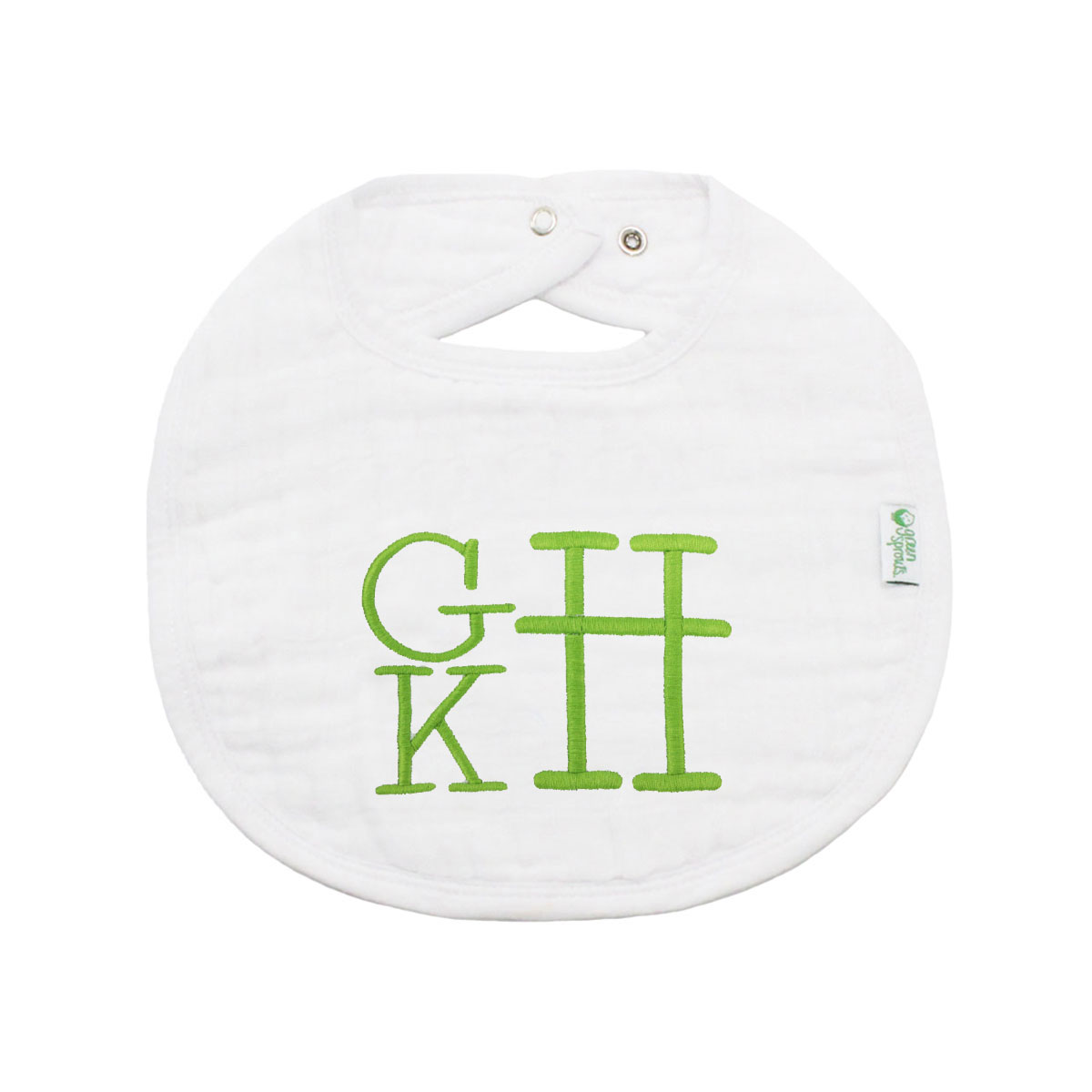 The Tot Organic Cotton White Bib with Personalized Monogram in Stacked