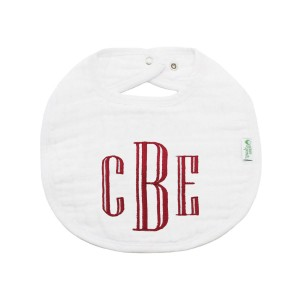The Tot Organic Cotton White Bib with Personalized Monogram in Standard
