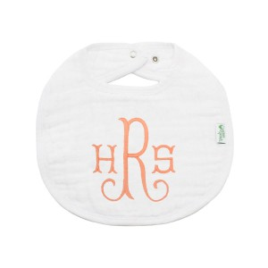 The Tot Organic Cotton White Bib with Personalized Monogram in Taylor