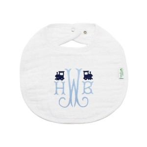 The Tot Organic Cotton White Bib with Personalized Monogram in Train
