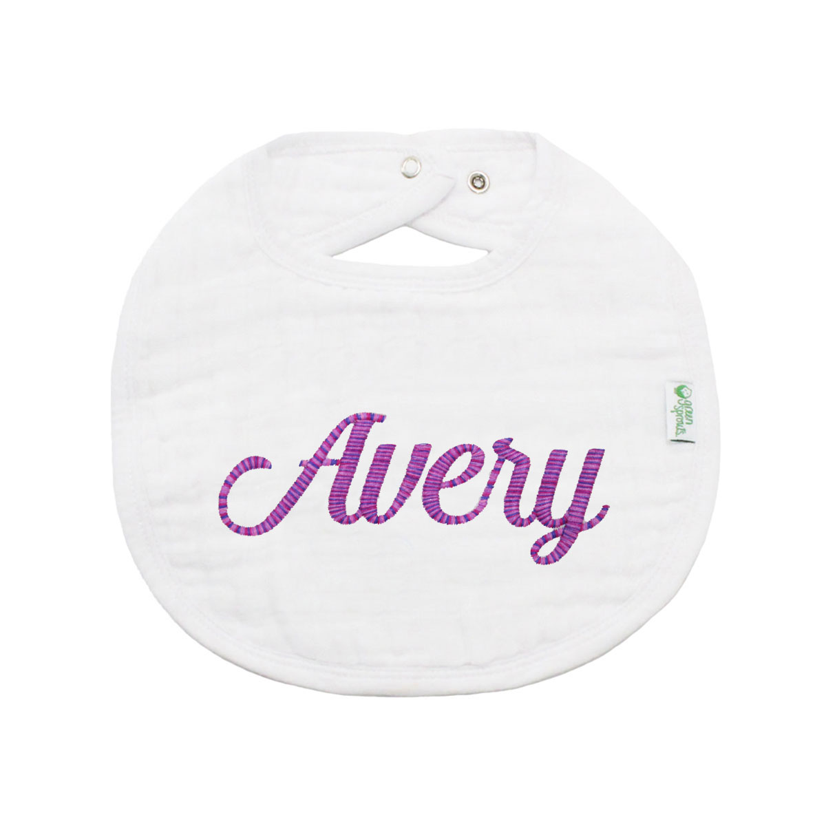 The Tot Organic Cotton White Bib with Personalized Monogram in Avery