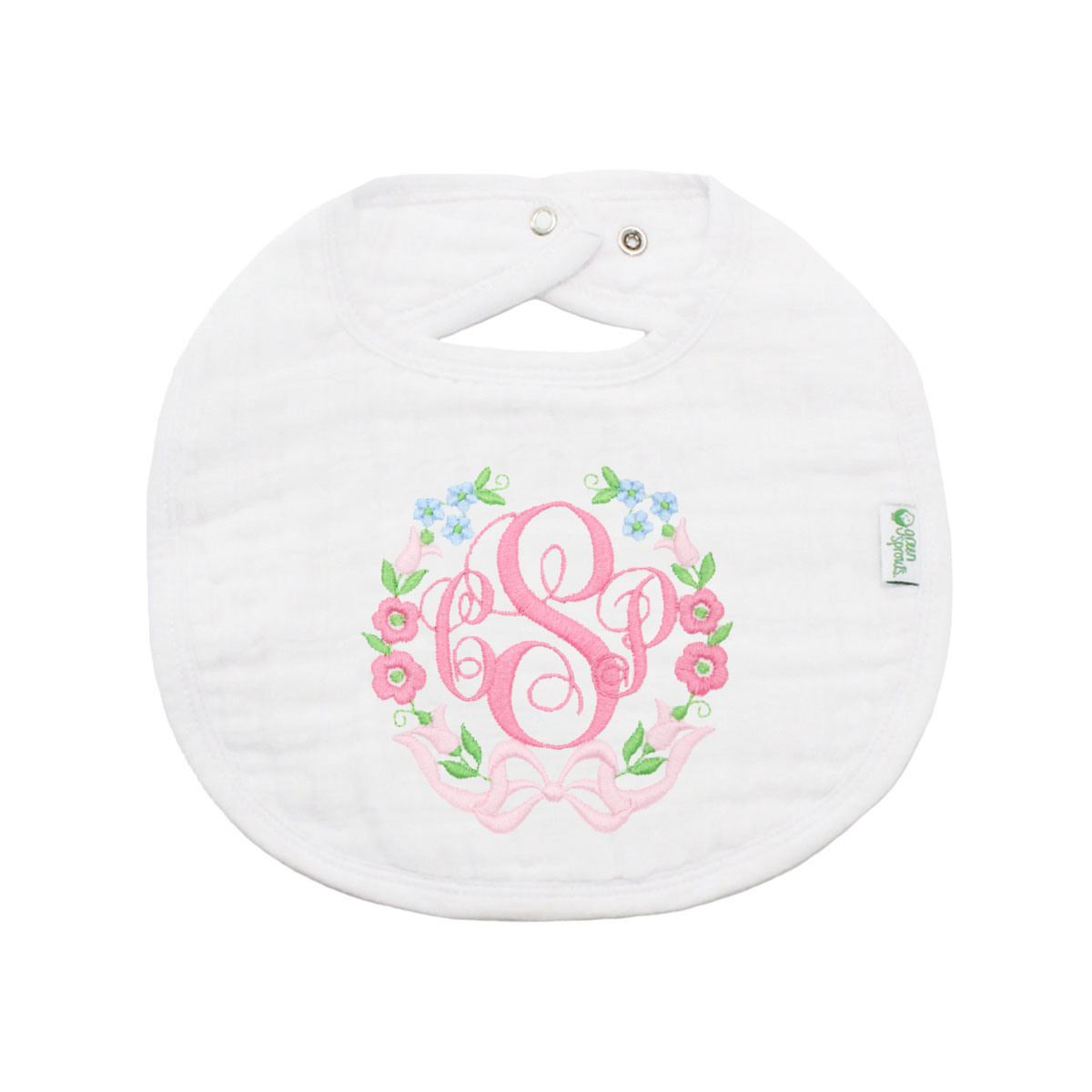 The Tot Organic Cotton White Bib with Personalized Monogram in Bows