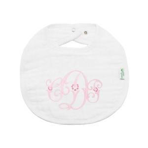 The Tot Organic Cotton White Bib with Personalized Monogram in Dots