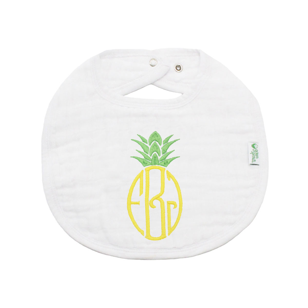 The Tot Organic Cotton White Bib with Personalized Monogram in Pineapple