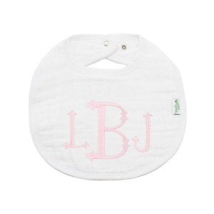 The Tot Organic Cotton White Bib with Personalized Monogram in Princess