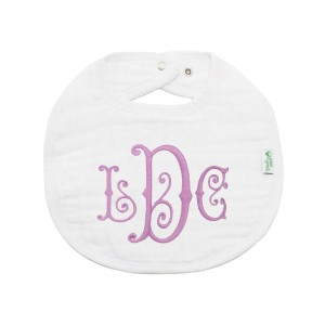 The Tot Organic Cotton White Bib with Personalized Monogram in Swirl