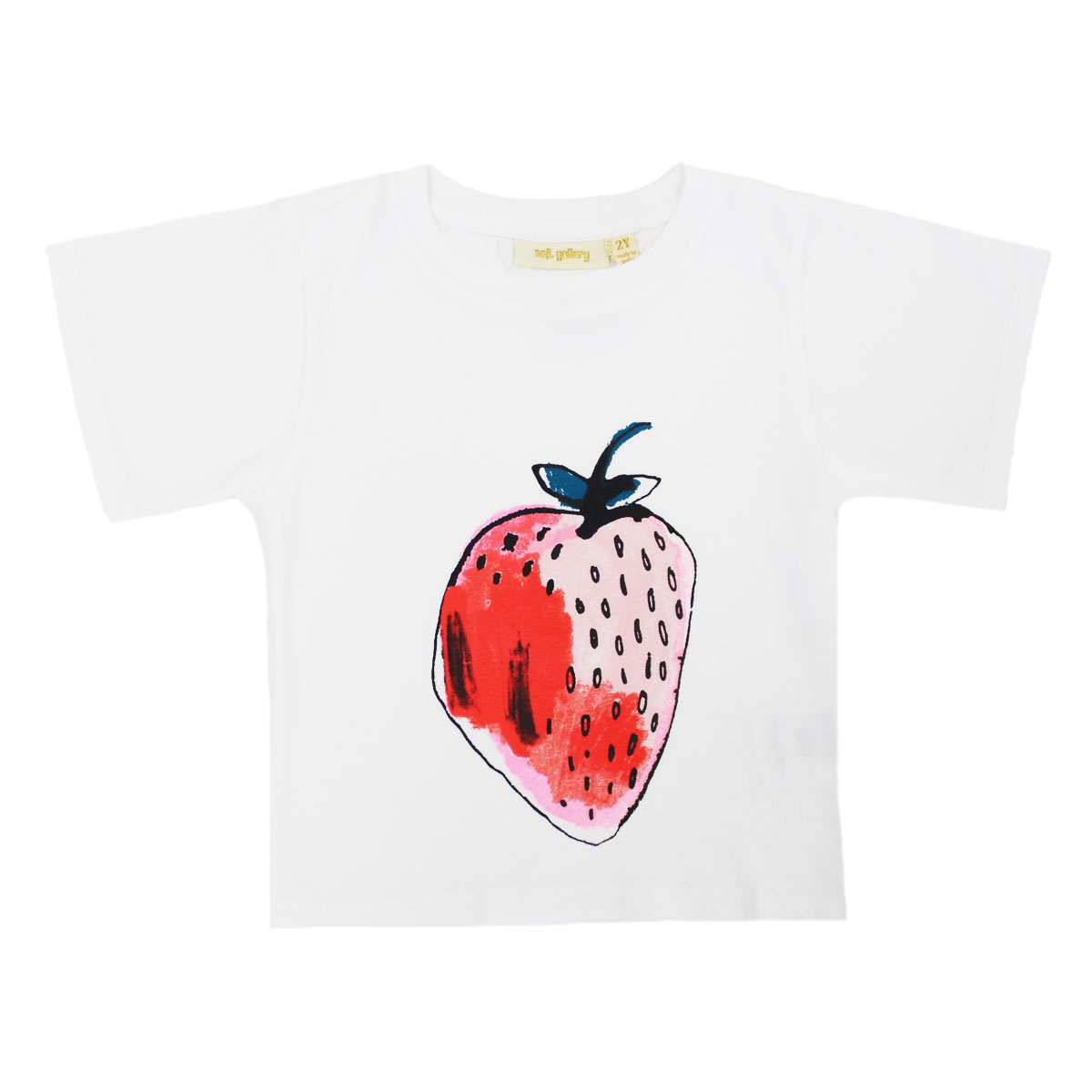 Soft Gallery Dominique T-Shirt in White with Strawberry