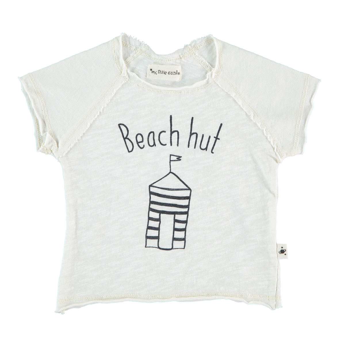 My Little Cozmo Flame T-Shrit in White with Beach Hut Print