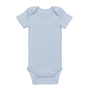 hart + land solid blue short sleeve lap shoulder body suit