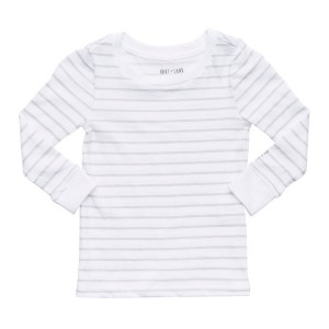 Hart + Land Long Sleeve Tee in Micro Chip Grey Stripe