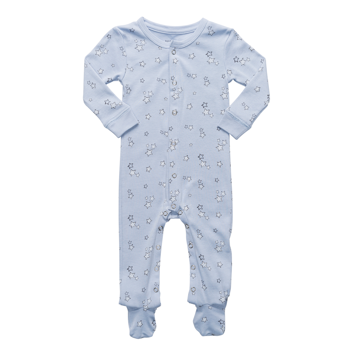 Hart + Land Long Sleeve Footie in Galaxy Star Print in Zen Blue