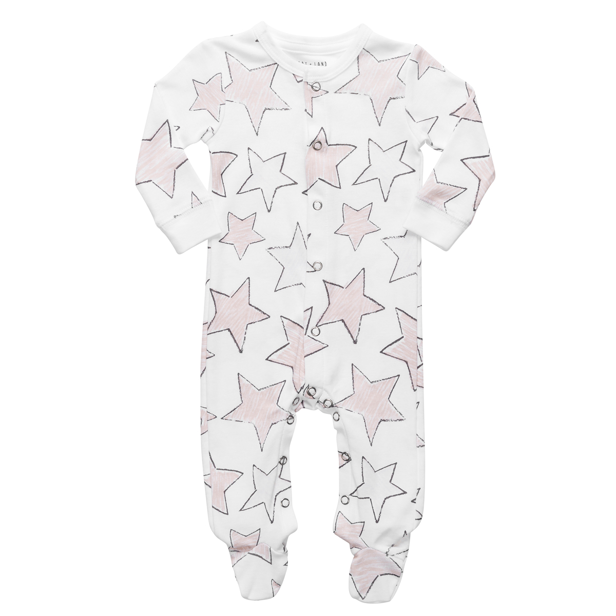 Hart + Land Long Sleeve Footie in Large Star Print in Sepia Rose