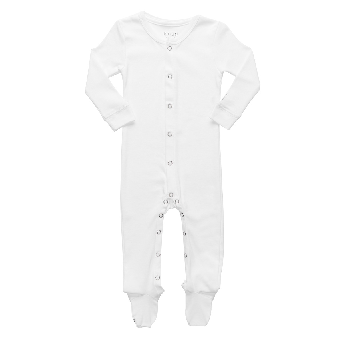 Hart + Land Long Sleeve Footie in Solid White