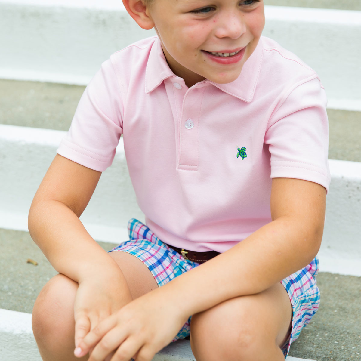 Bailey Boys Short Sleeve Henry Polo in Pink on boy
