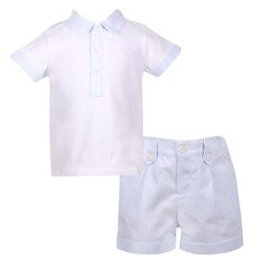 Patachou SS19 Shirt Polo in Sky Blue w/ matching blue and white striped shorts