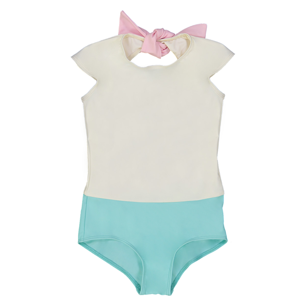Canopea One Piece Prisca Swimsuit with cap-sleeves in Aqua & White